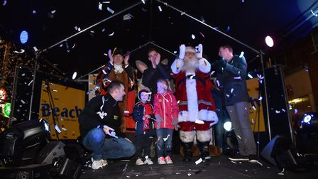 Father Christmas on stage at last year's Lowestoft Christmas lights switch on event. Picture: Sonya