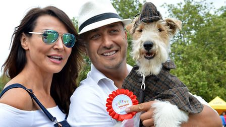Judge Lizzie Cundy with the winner of the dog who looks most like a celebrity, Humphrey as Sherlock