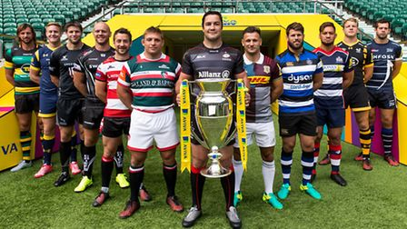 Saracens captain Brad Barritt (centre) will hope to be lifting the Premiership trophy again at the e