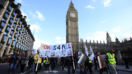 Protestors march to Downing Street, London to demonstrate against the Government's Housing and Plann