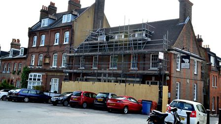 The Old White Bear has had scaffolding up for months with no obvious sign of work being done