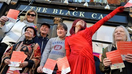 'We Are The Black Cap' vigil outside The Black Cap Camden High Street London NW1 on 31.10.15. From l