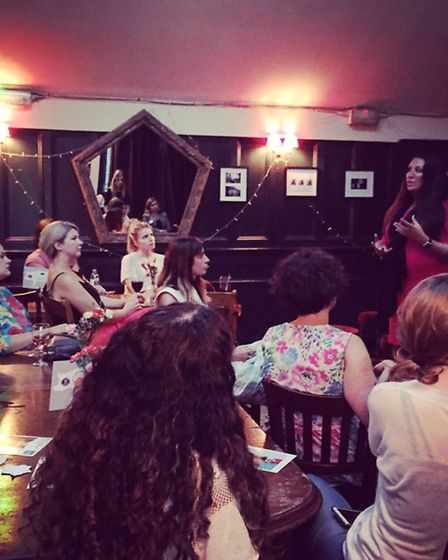 Vanessa Vallely giving a speech at the Dalston Darlings' WI meeting