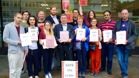 Campaigners have started a petition against TfL's poposal to scrap the existing route 13