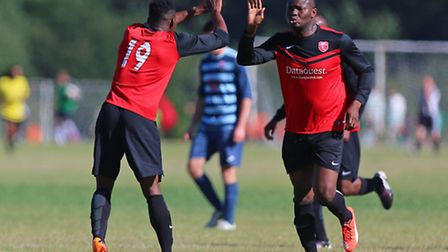 Yinka Akinlabi celebrates after putting Highfield ahead in their 3-2 win over Birkbeck Orient. Pic: