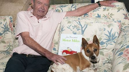 John Burningham with his dog Miles who is the subject of his latest book 'Motor Miles'