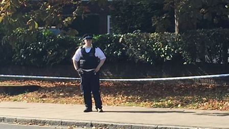 Police guarding the scene after double stabbing Picture: Emily Banks.