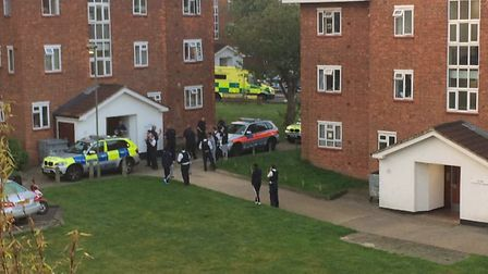 Police arrived following a shooting in East Finchley. Photo Milagros Remersaro