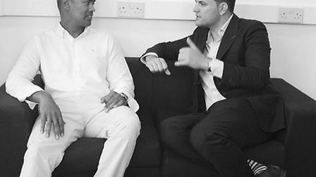 Richie Perera, managing director of The London Hair Academy, with Apprentice winner Mark Wright