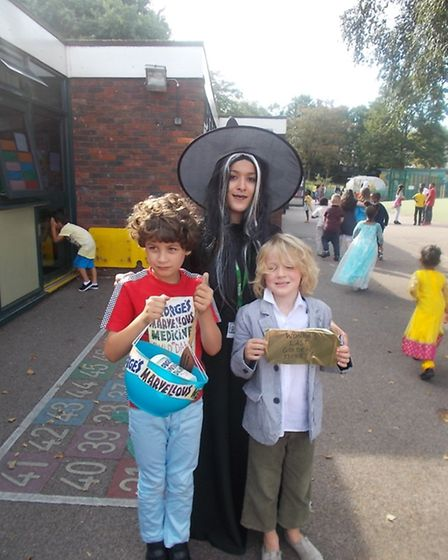 Youngsters and teachers from Nightingale Primary School dressed as Roald Dahl's book characters to c