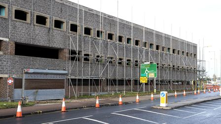 Work starts on the demolition of the Battery Green car park in Lowestoft. Picture: Nick Butcher