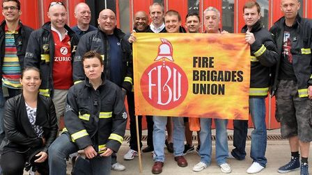 Firefighters on a march to save Kingsland fire station before its closure in 2014
