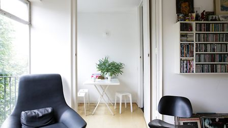 The flat offers a lesson in Modern simplicity with white walls and cork floors