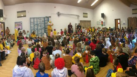 Pudsey Bear visits Gunton Primary Academy as part of the Children in Need fun. With Asda one of the