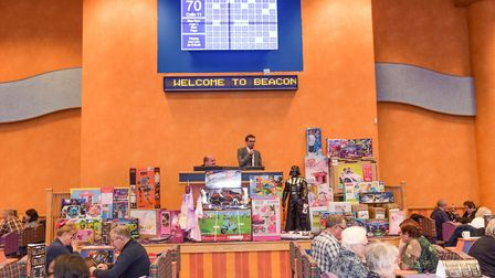 Emmerdale's Marlon Dingle - actor Mark Charnock - calling out the bingo numbers at Beacon Bingo Lowe