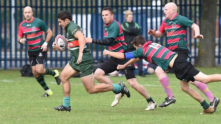 Gareth Kirk breaks away to score the first of his four tries. Pic: Paolo Minoli