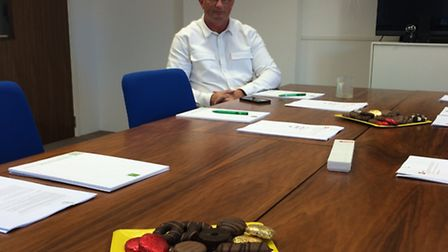 Edward Fenner at Camelot's HQ waiting for representatives of 'Camesquat' who didn't turn up. (Photo: