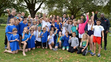 Primary School Triathalon held in London Fields on 28.09.16. Participants from all 3 competing schoo