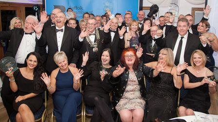Sponsors and winners celebrating their success at the Suffolk Chamber of Commerce in Lowestoft and W