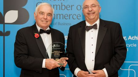 John Bidwell of High Lodge Leisure being presented the Recognition of Lifetime Achievement Award by