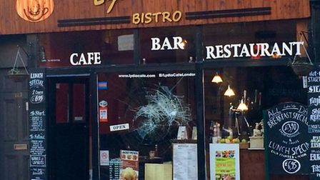 Lydia Cafe had its window smashed overnight. Picture: @StokeyUpdates