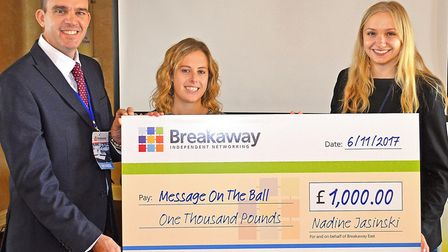 Breakaway East members present a £1,000 cheque to Message On The Ball. Picture: Mick Howes