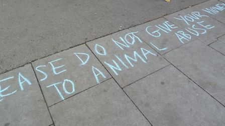 The demonstrators chalked slogans on the ground. Picture: Ron Vester