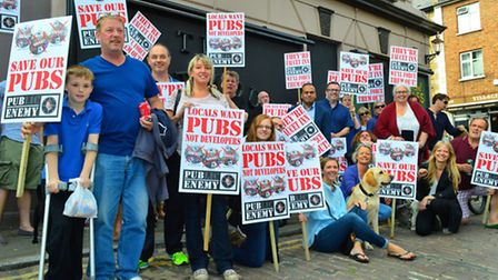 Campaigners protest against the continued closure of the Dartmouth Arms pub. Picture: Polly Hancock