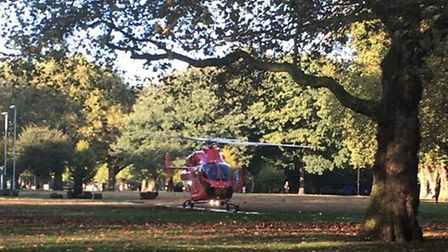 The Air Ambulance helicopter landed in London Fields. (Photo: @999London)