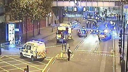 Mare Street was closed between Amhurst Road and Graham Road following the crash. Picture: @TfLTraffi