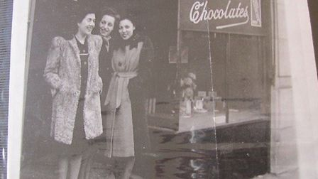 Ellie Schiffer-Beutel in the 19402 with two other ladies who worked in the chcolate shop