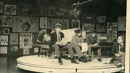 Four school students from Hackney Downs appear on Full House, 1972. Philip Ramocon at piano, poets