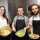 Meg Doherty, Kenny Mackenzie and Fred Andrews prepare food for the supper club at Blighty Coffee, Bl