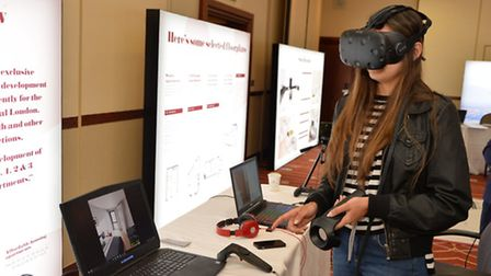 Attendees could explore an apartment using virtual reality goggles