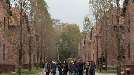 Students at the Auschwitz I camp. Picture: grahamsimages.com