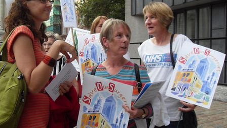 Dr Coral Jones (right) at a Hackney Save Our Surgeries protest in 2014.