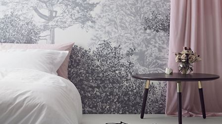 Classic Hua trees wall mural, grey, from £175 for a 10 metre roll, available from Sian Zeng. PA Phot