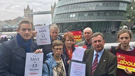Hampstead and Kilburn Labour Party members are campaigning to save the number 13 bus - setting up a