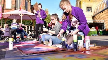 Youngsters take part in a graffiti art workshop during the Lowestoft Flipside Festival. Picture: Nic