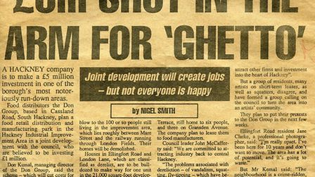 The Hackney Gazette news story which inspired Tom Hunter's sculpture, The Ghetto