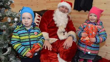 Hampstead Christmas Festival 2014. Vincent, 3, and Amelie, 4, Von Weber. Picture: Polly Hancock