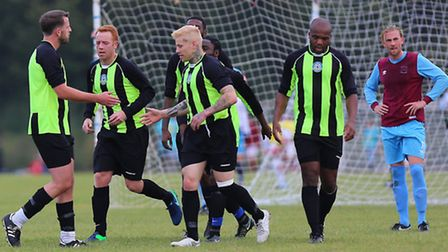 Eagle players celebrate as Tommy Makers puts them ahead in their 2-1 win over Bristow City. Pic: Gav