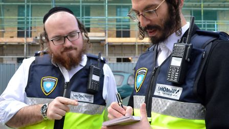 Volunteers from Stamford Hill Shomrim on pro-active patrol in Stamford Hill