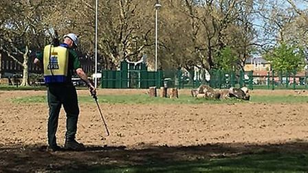 A council worker seen spraying glyphosate in London Fields wildflower meadow, photo Pesticide Free H