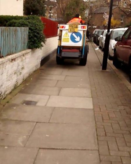 A machine spraying glyphosate on pavements in Hackney, photo Pesticide Free Hackney