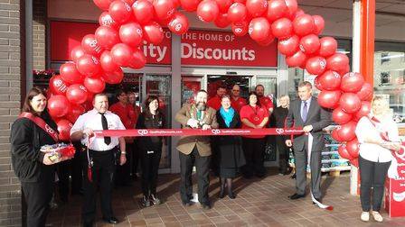 Pictured is deputy mayor of Lowestoft, councillor Peter Knight (centre left), as he officially opens