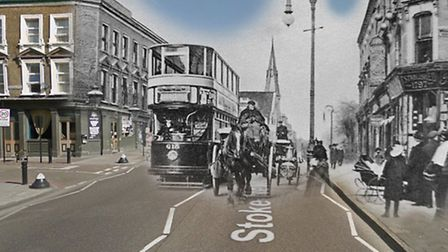 Stoke Newington Road looking north. Wellington Road on the right is no longer there and was demolish