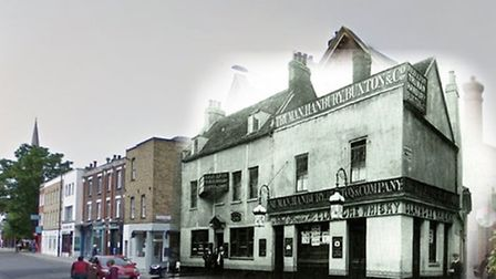 The Red Lion pub in Church Street. It was rebuilt in the 1924 when Lordship Road was widened.
