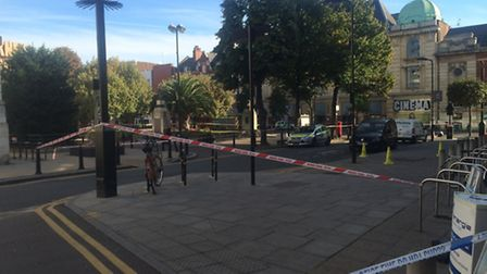 The town hall has been taped off by police