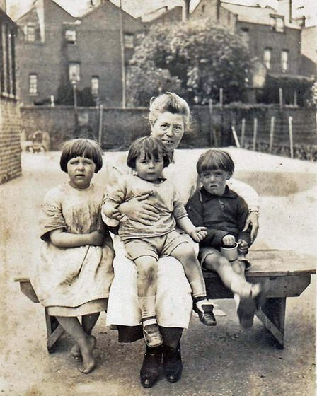 Sarah Wiegand (Patrick's grandmother) with (left to right) Lily Rankl, Brendon King and Gustave Wieg